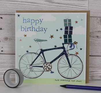 Racer Bicycle Birthday Card For Men