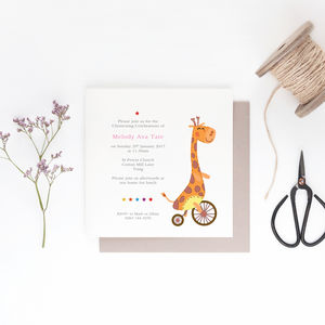 10 Cutie Giraffe Personalised Invitations - naming day & christening invitations