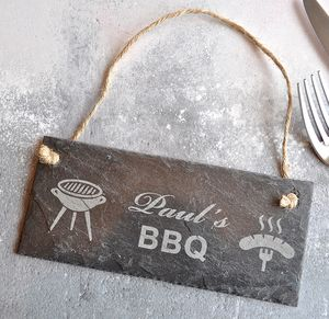 Personalised Bbq Slate Sign - garden sale