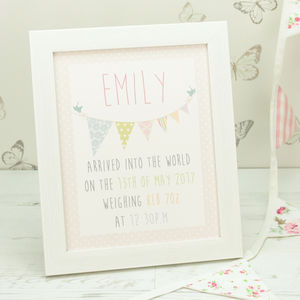 Personalised Bunting Baby Framed Print - paintings & canvases