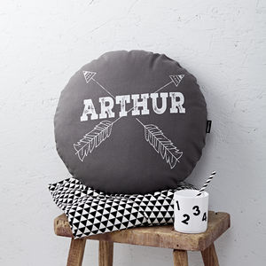 Personalised Grey Round Arrows Cushion