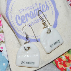 'Go Crazy' Porcelain Charm Earrings - earrings
