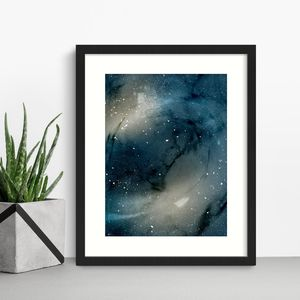 Blue Galaxy Space Wall Art Print