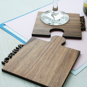 Set Of Two Personalised Cut Out Walnut Jigsaw Coasters - gifts for friends