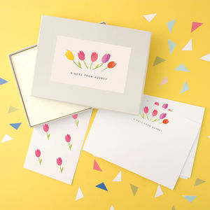 Personalised Tulips Writing Set - thank you cards