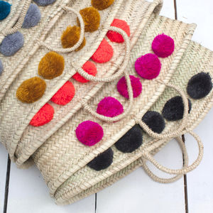Market Pom Pom Basket - picnic hampers & baskets