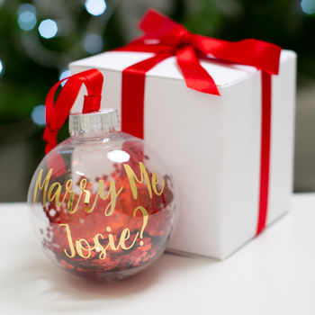 Personalised Marry Me Christmas Bauble