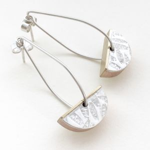 Boxy 'Petals' Half Round Earrings - earrings