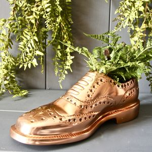 Copper Brogue Shoe Planter - tableware