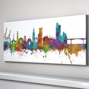 Southampton Skyline Cityscape Art Print - architecture & buildings