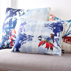 Tropical Trees And Flowers Silk Cushion