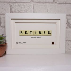 Retirement Scrabble Art