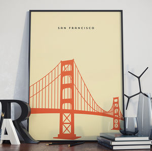 San Francisco Golden Gate Bridge Landmark Print - gifts for men