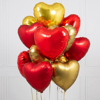 Inflated One Dozen Red And Gold Heart Foil Balloons