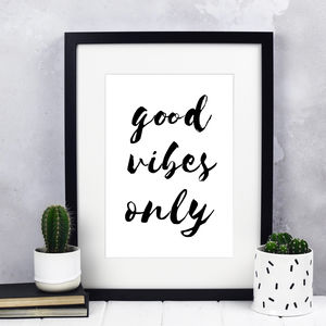 'Good Vibes Only' Typography Print - typography