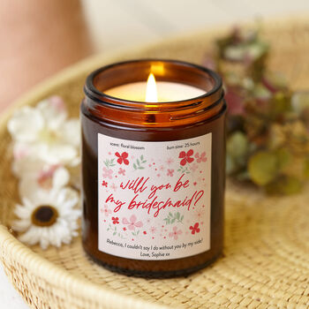 Be My Bridesmaid Gift Bright Floral Candle