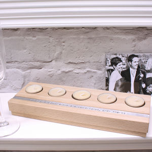 Personalised Wooden Five Tealight Holder - dining room