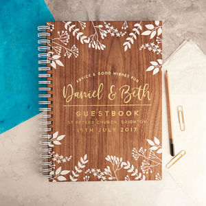 Personalised Gold Foiled Walnut Wedding Guest Book - guest books