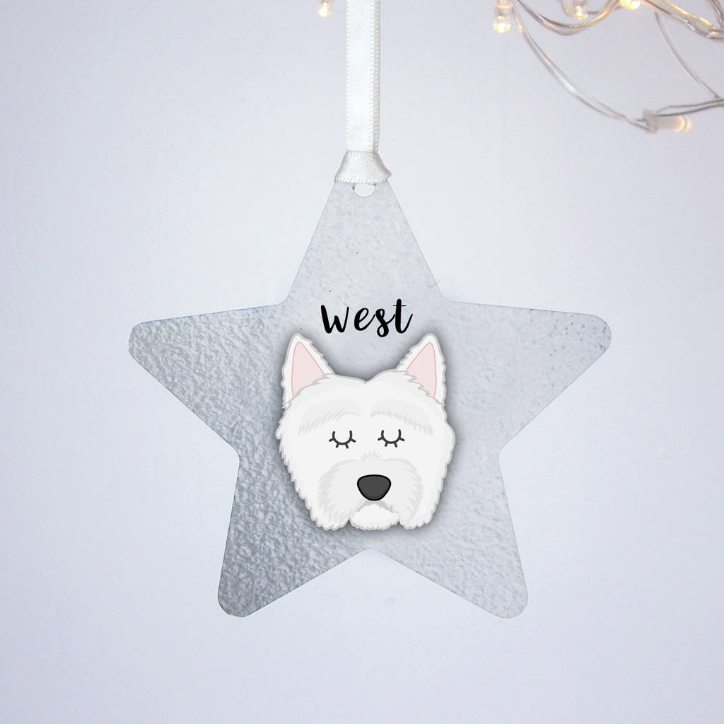 Westie Silver Printed Christmas Decoration