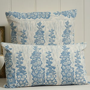 Foxglove Block Printed Cotton Cushions