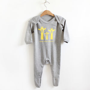 Giraffe Family, Personalised Romper - gifts for babies