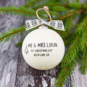 Mr And Mrs First Christmas Bauble