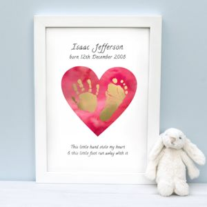 Personalised Stole My Heart Childs Foil Hand Print