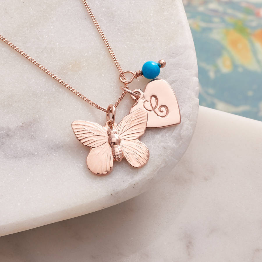 personalised rose gold butterfly necklace by claudette worters