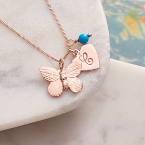 Personalised Rose Gold Butterfly Necklace - necklaces & pendants