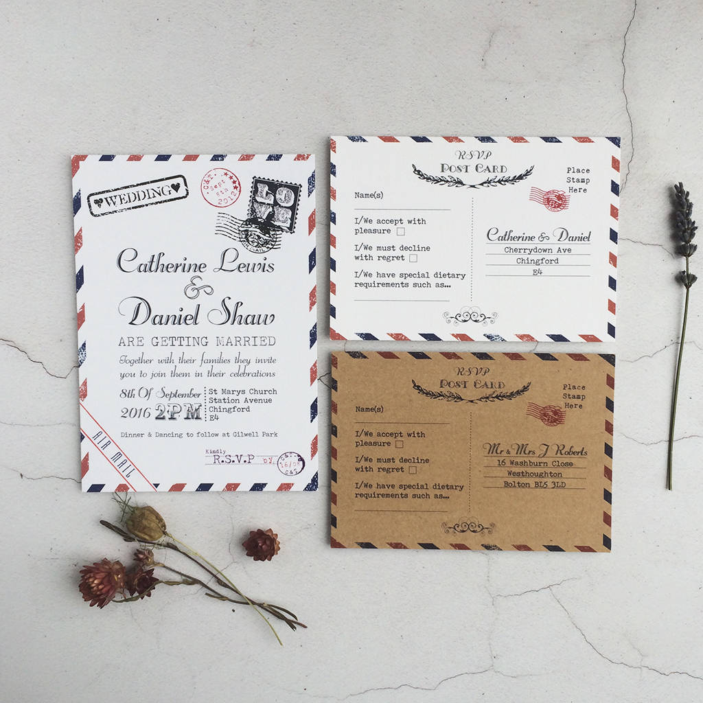 not on the high street winter wedding invitations%0A Vintage Post Wedding Invitation