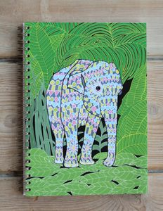 Indian Elephant A5 Spiral Bound Notebook - writing