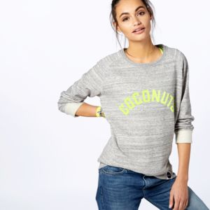 Coconuts Sweatshirt With Citrus Yellow Print - slogan fashion trend