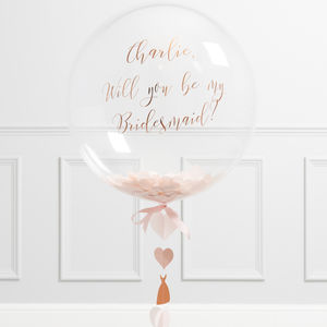 'Will You Be My Bridesmaid?' Rose Gold Bubble Balloon