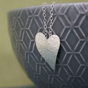 Sterling Silver Watercolour Oak Heart Pendant
