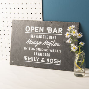 Personalised 'Open Bar' Slate Sign - room decorations