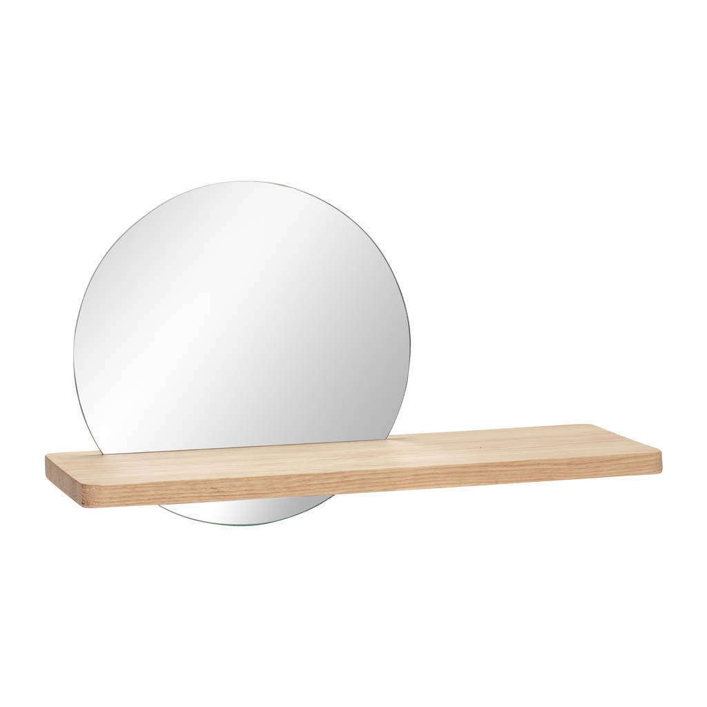 round mirror with wooden shelf by posh totty designs. Black Bedroom Furniture Sets. Home Design Ideas
