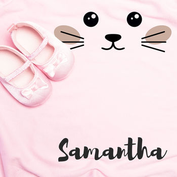 Personalised Baby Fleece Blanket Any Name Cat Face