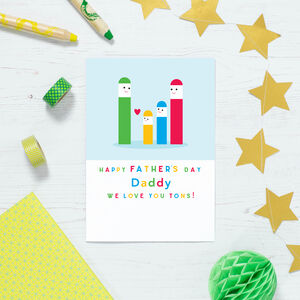 Personalised Stick Men Family Father's Day Card