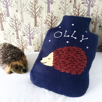 Sleeping Hedgehog Personalised Hot Water Bottle Cover