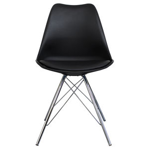 Black Copenhagen Chair With Chrome Legs