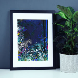 Zebra In The Night Forest Illustration Print