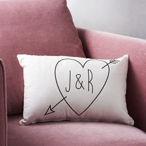 Personalised Initials Cupid Cushion - 2nd anniversary: cotton