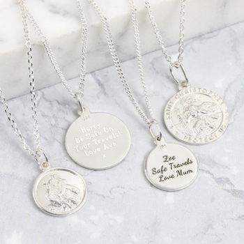 Men's Personalised Sterling St Christopher Necklace
