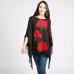 Carnation Intarsia Floral Poncho Black Red