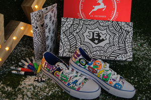 Monster Pattern Colour In Children's Shoes - creative activities