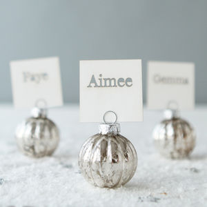 Silver Bauble Place Name Holders And Cards - place cards