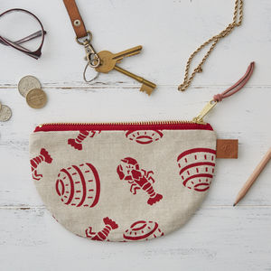 Lobster Pot Half Moon Linen Zipped Purse