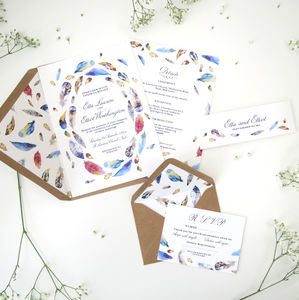 Bohemian Feathers Wedding Stationery - new in wedding styling