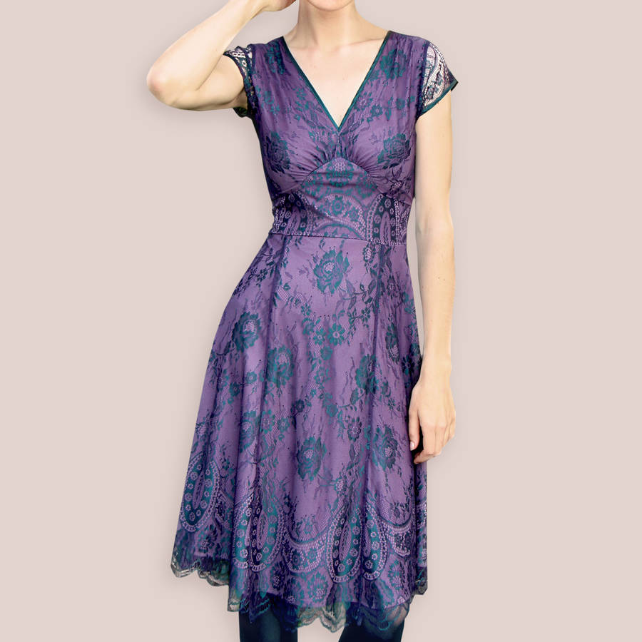 Special Occasion Dress In Midnight And Currant Lace