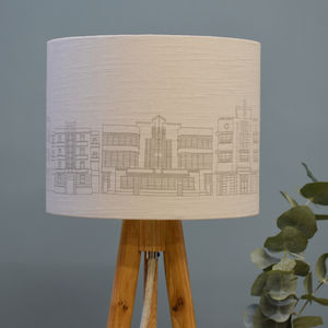 Grey Linen Deco Building Drum Lampshade